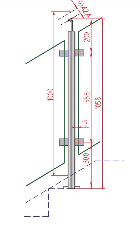 Montant INOX MVT100-2D